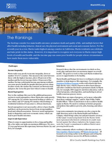 2016 County Health Rankings Marin Health And Human Services