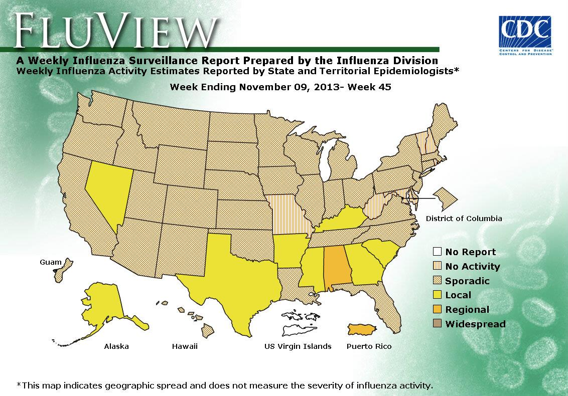 US Geographic Distribution of Influenza, week 45