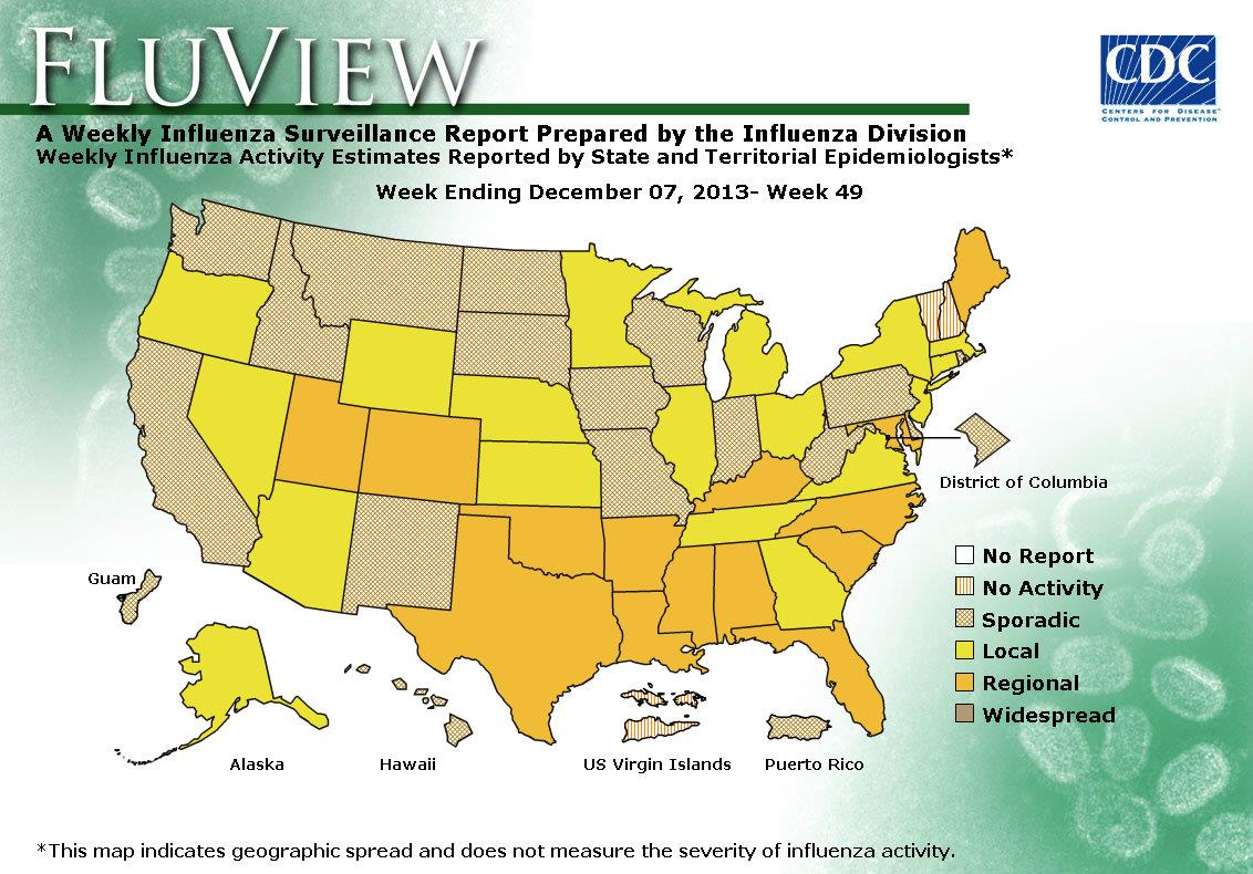 US Geographic Distribution of Influenza, week 49