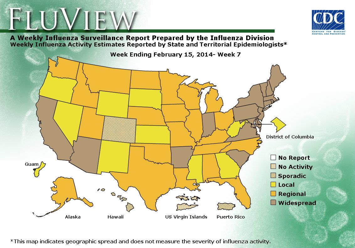 geographic spread of influenza map by state, week 7