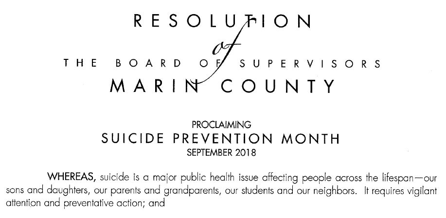 Marin County Board of Supervisors Resolution proclaiming Suicide Prevention Month.