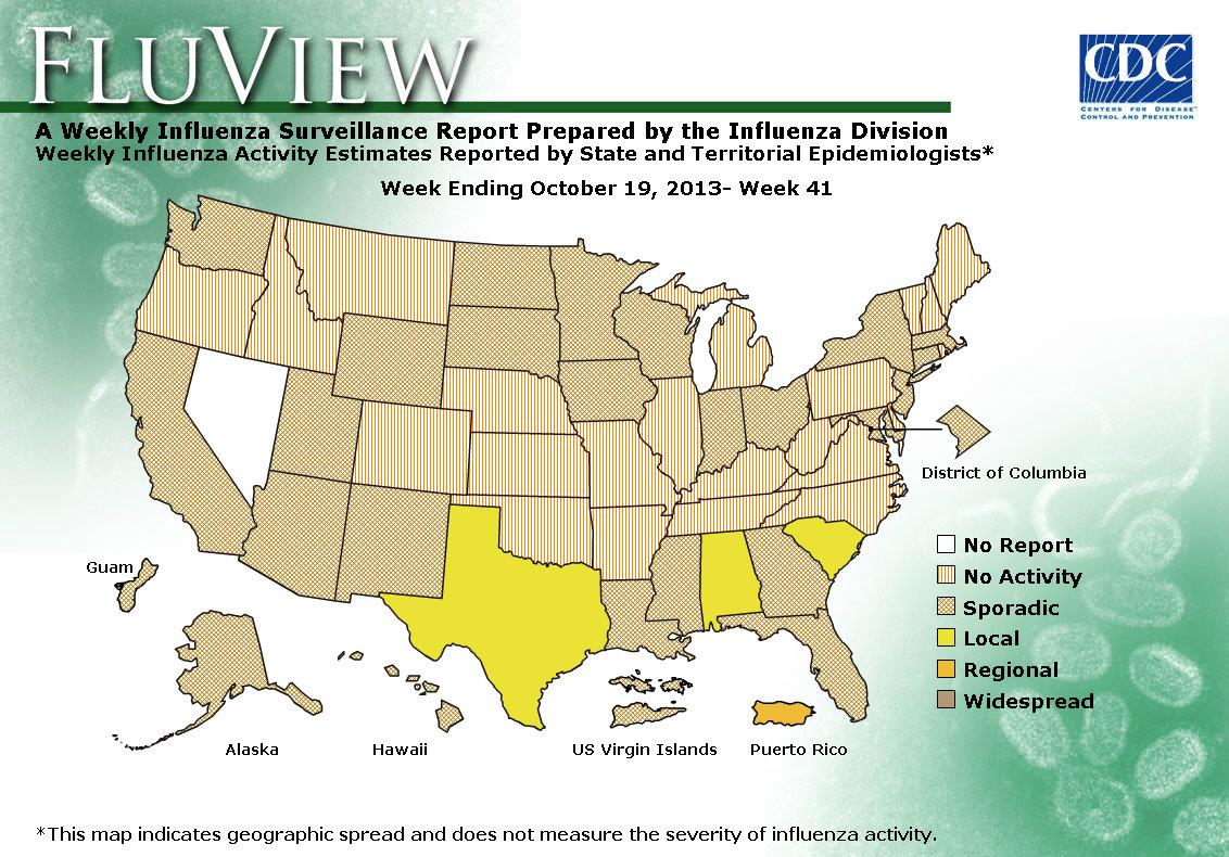 US Influenza Geographic Distribution map
