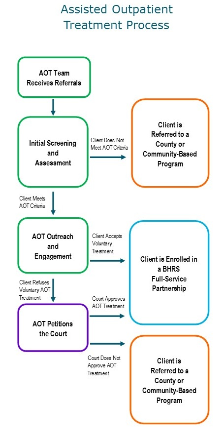 A diagram of the Assisted Outpatient Treatment Process