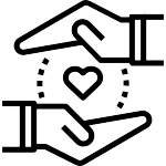 Line drawing of hands surrounding a heart shape representing Marin HHS Public Health