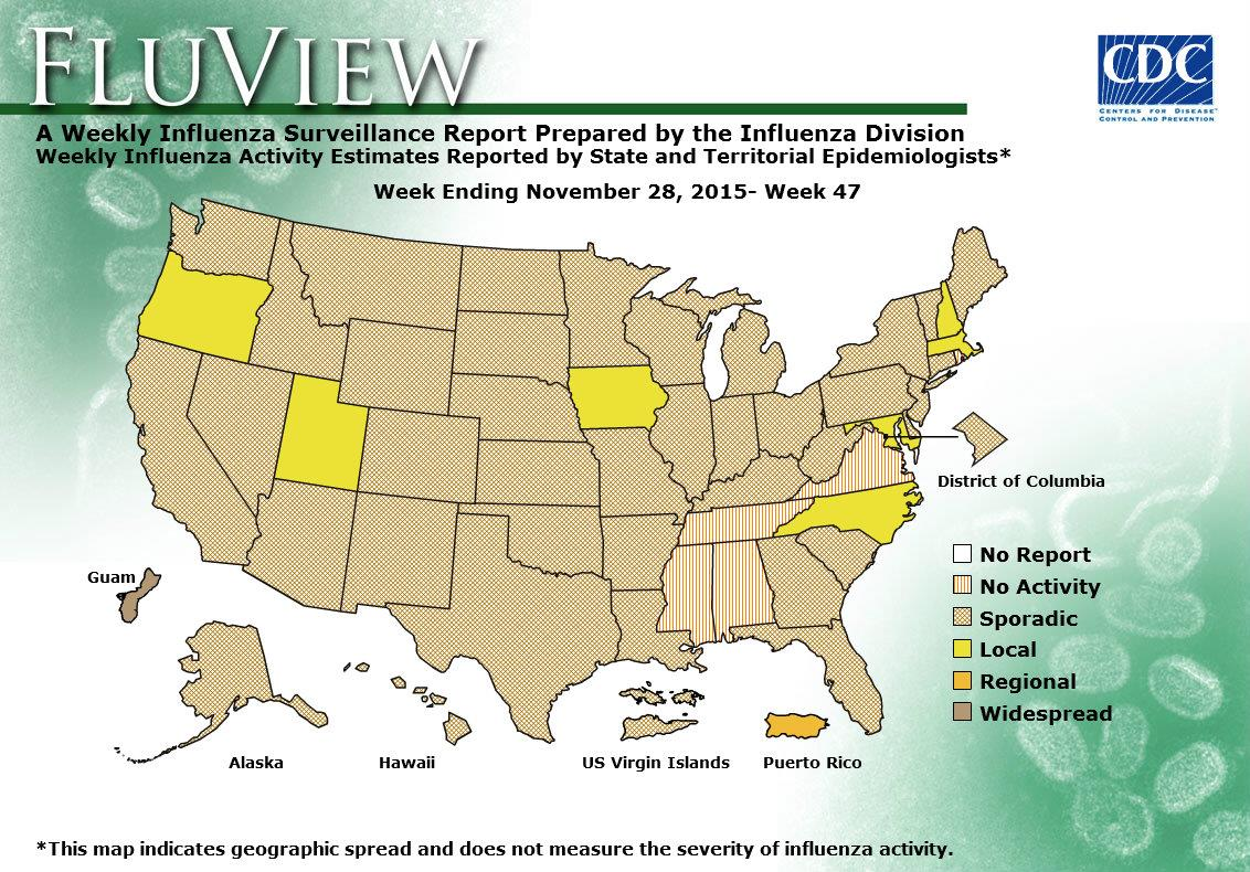 Geographic Distribution of Influenza in the US